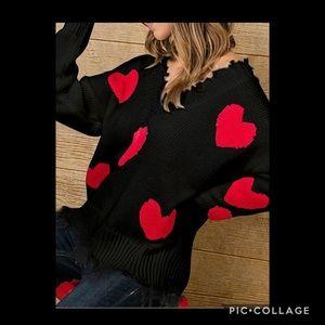COMING SOON❤️ Heart Print Tassel Design Sweater